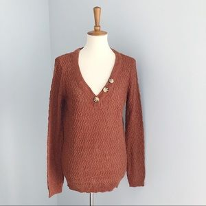 NWT Maurices Knit V-Neck Button Sweater Size M
